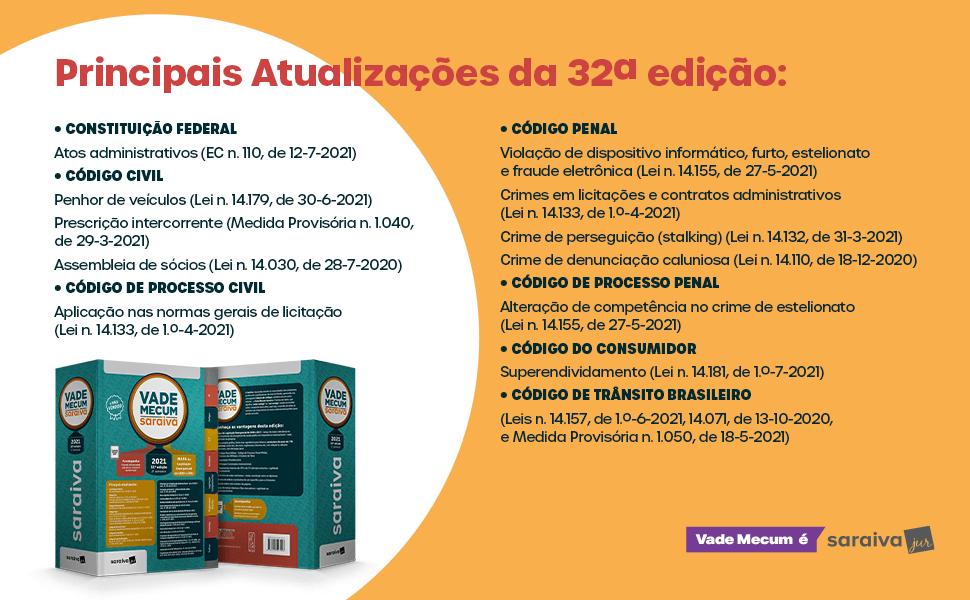 Livro Vade Mecum Tradicional 32ª edição - Saraiva Jur - Principais Atualizações