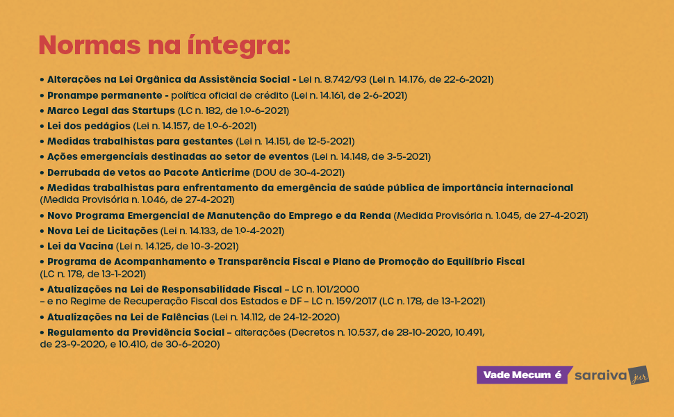 Livro Vade Mecum Tradicional 32ª edição - Saraiva Jur - Normas na Íntegra